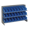 "Bench Rack 12""D x 36""W x 21""H with 24 Blue Bins 11-7/8""L x 4-1/8""W x 4""H"