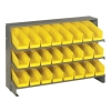 "Bench Rack 12""D x 36""W x 21""H with 24 Yellow Bins 11-7/8""L x 4-1/8""W x 4""H"