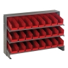 "Bench Rack 12""D x 36""W x 21""H with 24 Red Bins 11-7/8""L x 4-1/8""W x 4""H"