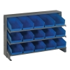 "Bench Rack 12""D x 36""W x 21""H with 15 Blue Bins 11-7/8""L x 6-5/8""W x 4""H"