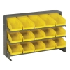 "Bench Rack 12""D x 36""W x 21""H with 15 Yellow Bins 11-7/8""L x 6-5/8""W x 4""H"