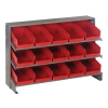 "Bench Rack 12""D x 36""W x 21""H with 15 Red Bins 11-7/8""L x 6-5/8""W x 4""H"
