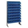 """Single Sided Rack 12"""" D x 36"""" W x 60"""" Hgt. with 64 Blue Bins 11-7/8"""" L x 4-1/8"""" W x 4"""" Hgt."""