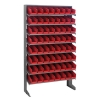 "Single Sided Rack 12""D x 36""W x 60""H with 64 Red Bins 11-7/8""L x 4-1/8""W x 4""H"