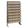 "Single Sided Rack 12""D x 36""W x 60""H with 64 Ivory Bins 11-7/8""L x 4-1/8""W x 4""H"