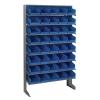 """Single Sided Rack 12"""" D x 36"""" W x 60"""" Hgt. with 40 Blue Bins 11-7/8"""" L x 6-5/8"""" W x 4"""" Hgt."""