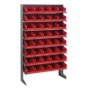 "Single Sided Rack 12""D x 36""W x 60""H with 40 Red Bins 11-7/8""L x 6-5/8""W x 4""H"