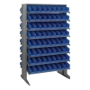 "Double Sided Rack 24""D x 36""W x 60""H with 128 Blue Bins 11-7/8""L x 4-1/8""W x 4""H"
