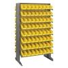 "Double Sided Rack 24"" D x 36"" W x 60"" Hgt. with 128 Yellow Bins 11-7/8"" L x 4-1/8"" W x 4"" Hgt."
