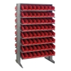 "Double Sided Rack 24""D x 36""W x 60""H with 128 Red Bins 11-7/8""L x 4-1/8""W x 4""H"