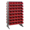 "Double Sided Rack 24""D x 36""W x 60""H with 80 Red Bins 11-7/8""L x 6-5/8""W x 4""H"