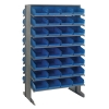 "Double Sided Rack 24""D x 36""W x 60""H with 64 Blue Bins 11-7/8""L x 8-1/8""W x 4""H"