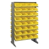 "Double Sided Rack 24""D x 36""W x 60""H with 64 Yellow Bins 11-7/8""L x 8-1/8""W x 4""H"