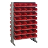 "Double Sided Rack 24""D x 36""W x 60""H with 64 Red Bins 11-7/8""L x 8-1/8""W x 4""H"