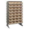 "Double Sided Rack 24""D x 36""W x 60""H with 64 Ivory Bins 11-7/8""L x 8-1/8""W x 4""H"