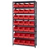 "12"" W x 36"" L x 75"" Hgt. Storage Unit w/8 Shelves & 28 Red Bins 14-3/4"" L x 8-1/4"" W x 7"" Hgt."