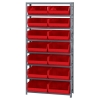 "12"" W x 36"" L x 75"" Hgt. Storage Unit w/8 Shelves & 8 Red Bins 14-3/4"" L x 16-1/2"" W x 7"" Hgt."
