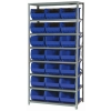"18"" W x 36"" L x 75"" Hgt. Storage Unit w/8 Shelves & 21 Blue Bins 16"" L x 11"" W x 8"" Hgt."
