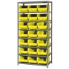 "18"" W x 36"" L x 75"" Hgt. Storage Unit w/8 Shelves & 21 Yellow Bins 16"" L x 11"" W x 8"" Hgt."