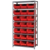 "18"" W x 36"" L x 75"" Hgt. Storage Unit w/8 Shelves & 21 Red Bins 16"" L x 11"" W x 8"" Hgt."