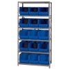 "18"" W x 36"" L x 75"" Hgt. Storage Unit w/6 Shelves & 15 Blue Bins 18"" L x 11"" W x 10"" Hgt."