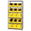 "18"" W x 36"" L x 75"" Hgt. Storage Unit w/6 Shelves & 15 Yellow Bins 18"" L x 11"" W x 10"" Hgt."