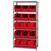 "18"" W x 36"" L x 75"" Hgt. Storage Unit w/6 Shelves & 15 Red Bins 18"" L x 11"" W x 10"" Hgt."
