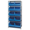 "18"" W x 36"" L x 75"" Hgt. Storage Unit w/6 Shelves & 10 Blue Bins 18"" L x 16-1/2"" W x 11"" Hgt."