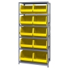 "18"" W x 36"" L x 75"" Hgt. Storage Unit w/6 Shelves & 10 Yellow Bins 18"" L x 16-1/2"" W x 11"" Hgt."