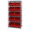 "18"" W x 36"" L x 75"" Hgt. Storage Unit w/6 Shelves & 10 Red Bins 18"" L x 16-1/2"" W x 11"" Hgt."