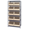 "18"" W x 36"" L x 75"" Hgt. Storage Unit w/6 Shelves & 10 Ivory Bins 18"" L x 16-1/2"" W x 11"" Hgt."