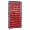 "12"" W x 36"" L x 75"" Hgt. Unit with 13 Shelves & 96 Red Bins 11-7/8"" L x 4-1/8"" W x 4"" Hgt."