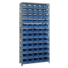 """12"""" W x 36"""" L x 75"""" Hgt. Unit with 13 Shelves & 60 Blue Bins 11-5/8"""" L x 6-5/8"""" W x 4"""" Hgt."""