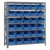 """12"""" W x 36"""" L x 39"""" Hgt. Unit with 7 Shelves & 30 Blue Bins 11-7/8"""" L x 6-5/8"""" W x 4"""" Hgt."""