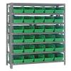 """12"""" W x 36"""" L x 39"""" Hgt. Unit with 7 Shelves & 30 Green Bins 11-7/8"""" L x 6-5/8"""" W x 4"""" Hgt."""