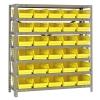"12"" W x 36"" L x 39"" Hgt. Unit with 7 Shelves & 30 Yellow Bins 11-7/8"" L x 6-5/8"" W x 4"" Hgt."