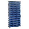 """18"""" W x 36"""" L x 75"""" Hgt. Unit with 13 Shelves & 96 Blue Bins 17-7/8"""" L x 4-1/8"""" W x 4"""" Hgt."""