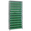 """18"""" W x 36"""" L x 75"""" Hgt. Unit with 13 Shelves & 96 Green Bins 17-7/8"""" L x 4-1/8"""" W x 4"""" Hgt."""
