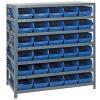 """18"""" W x 36"""" L x 39"""" Hgt. Unit with 7 Shelves & 30 Blue Bins 17-7/8"""" L x 6-5/8"""" W x 4"""" Hgt."""