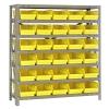"18"" W x 36"" L x 39"" Hgt. Unit with 7 Shelves & 30 Yellow Bins 17-7/8"" L x 6-5/8"" W x 4"" Hgt."