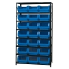 "Magnum Bin Unit with 8 Shelves & 21 Blue Bins 19-3/4""L x 12-3/8""W x 7-7/8""H"