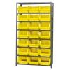 "Magnum Bin Unit with 8 Shelves & 21 Yellow Bins 19-3/4""L x 12-3/8""W x 7-7/8""H"