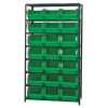 "Magnum Bin Unit with 8 Shelves & 21 Green Bins 19-3/4""L x 12-3/8""W x 7-7/8""H"
