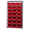 """Magnum Bin Unit with 8 Shelves & 21 Red Bins 19-3/4""""L x 12-3/8""""W x 7-7/8""""H"""