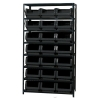 "Magnum Bin Unit with 8 Shelves & 21 Black Bins 19-3/4""L x 12-3/8""W x 7-7/8""H"