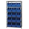 "Magnum Bin Unit with 6 Shelves & 15 Blue Bins 19-3/4""L x 12-3/8""W x 11-7/8""H"