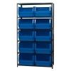 "Magnum Bin Unit with 6 Shelves & 10 Blue Bins 19-3/4""L x 18-3/8""W x 11-7/8""H"