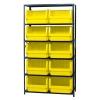 "Magnum Bin Unit with 6 Shelves & 10 Yellow Bins 19-3/4""L x 18-3/8""W x 11-7/8""H"