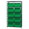 "Magnum Bin Unit with 6 Shelves & 10 Green Bins 19-3/4""L x 18-3/8""W x 11-7/8""H"
