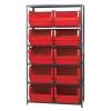 """Magnum Bin Unit with 6 Shelves & 10 Red Bins 19-3/4""""L x 18-3/8""""W x 11-7/8""""H"""